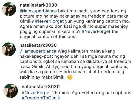Anti-Marcos Actress Bianca Gonzales Hits Back At Rude Netizen! 'Wag kalimutan malaya kang nakakapag-bash ngayon dahil sa nauna sa atin at lumaban sa diktaturya.'
