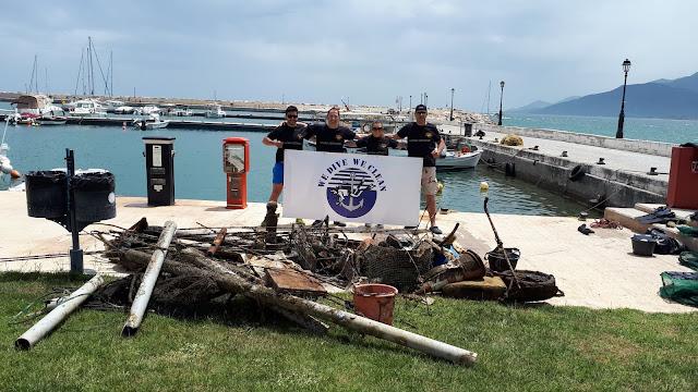 400 κιλά απορρίμματα ανέλκυσαν εθελοντές δύτες από το λιμάνι στο Παράλιο Άστρος