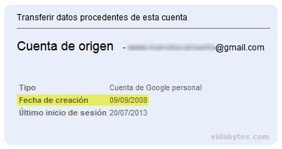Fecha de creación Gmail
