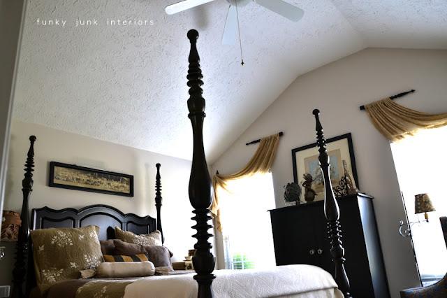 A junk tour of Bella Rustica Linda's house via Funky Junk Interiors - gorgeous black and cream bedroom
