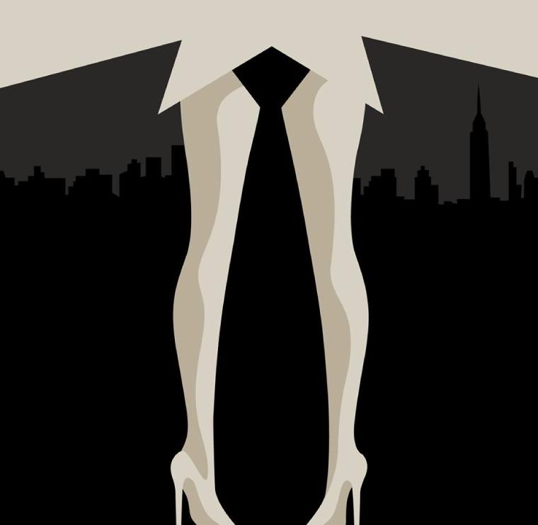 Piernas de mujer y corbata