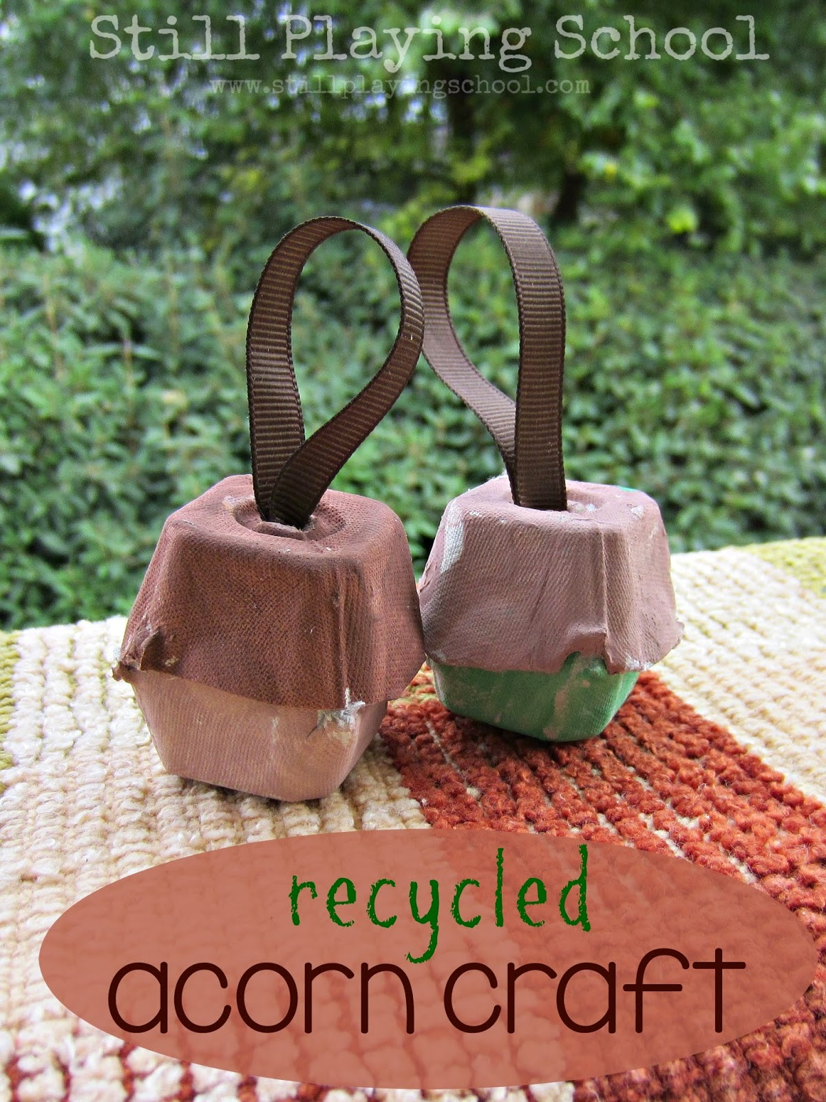 Recycled Egg Carton Acorn Ornaments
