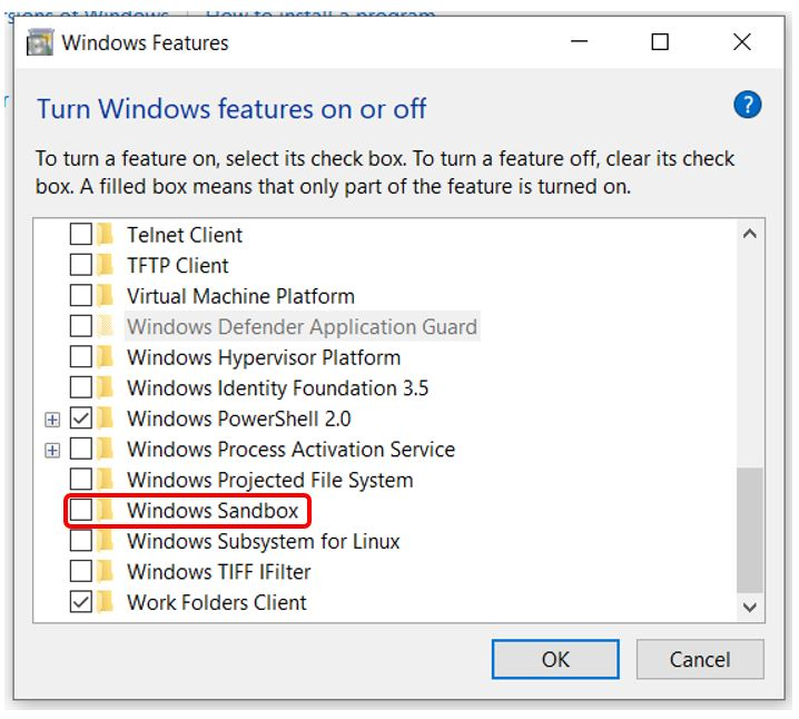 Enable Windows Sandbox on 1903 with and without PowerShell