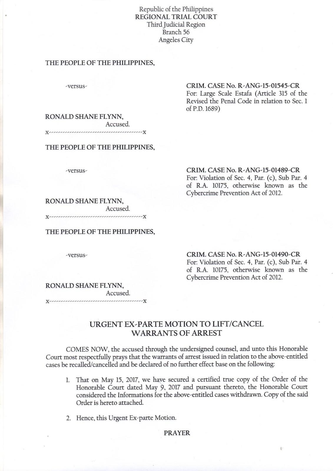NOT GUILTY! Estafa Case VS Ronald Shane Flynn Dismissed