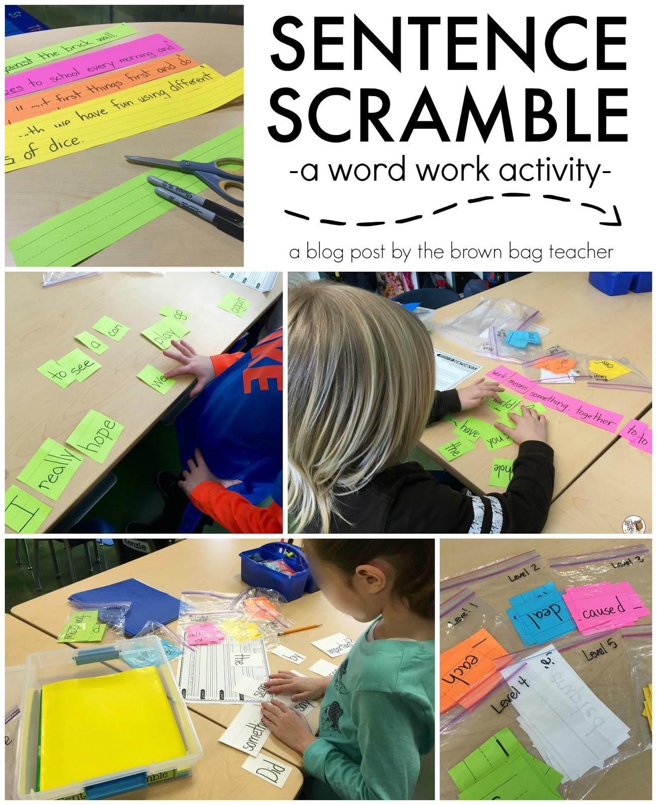 Word Work Sentence Scramble