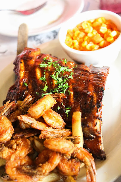 Large Shrimps and Ribs Platter by Burgoo - Expensive and not-worth it!