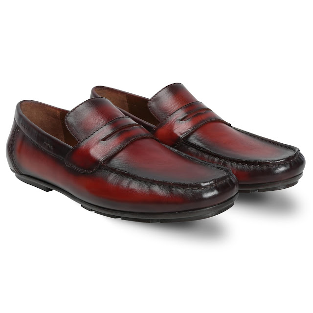 BRUNE BURNISHED WINE HAND PAINTED LEATHER MOCCASINS FOR MEN