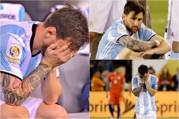lionel messi in tears after the copa America loss to chile and announces his retirement