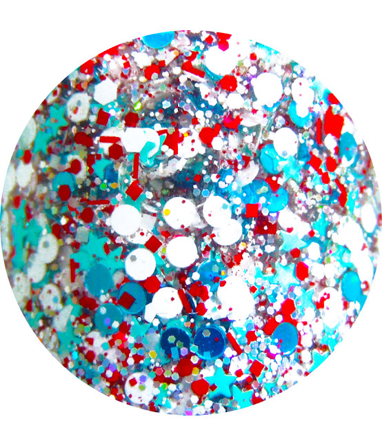 Christmas Custom Handmade Indie Cool Unique Lacquer Red White Blue Mini Stars Teal Dots White Circles Solvent Resistant Glitter