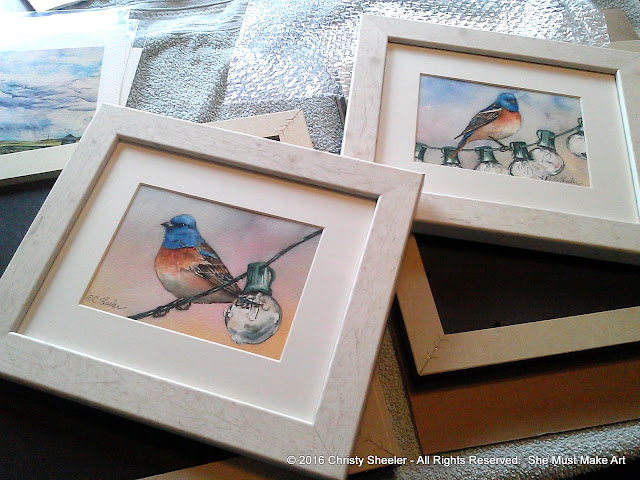 Two watercolors of the Lapis Lazuli bird framed and ready.