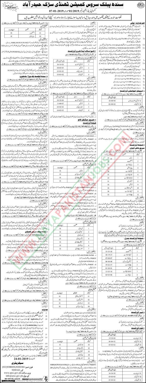 SPSC Latest Jobs Jan 2019 | Sindh Public Service Commission
