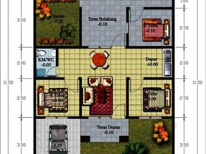 denah rumah satu lantai tiga kamar menarik