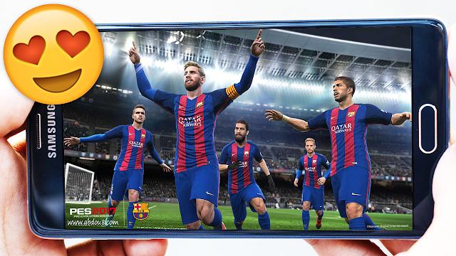 تحميل اللعبة الخرافية Pes 2017 الإصدار الجديد مجانا لأجهزة الأندرويد | فيها ازرار التحكم !