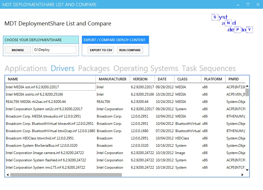 MDT DeploymentShare List and Compare - Syst & Deploy