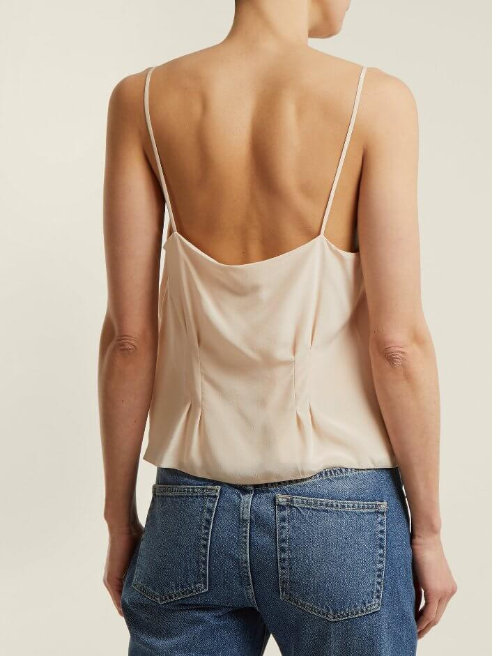 Loose Beige Silk Top With Thin Straps