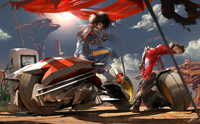 Ride the Desert - Sci fi motorcycle illustration by Tommaso Renieri