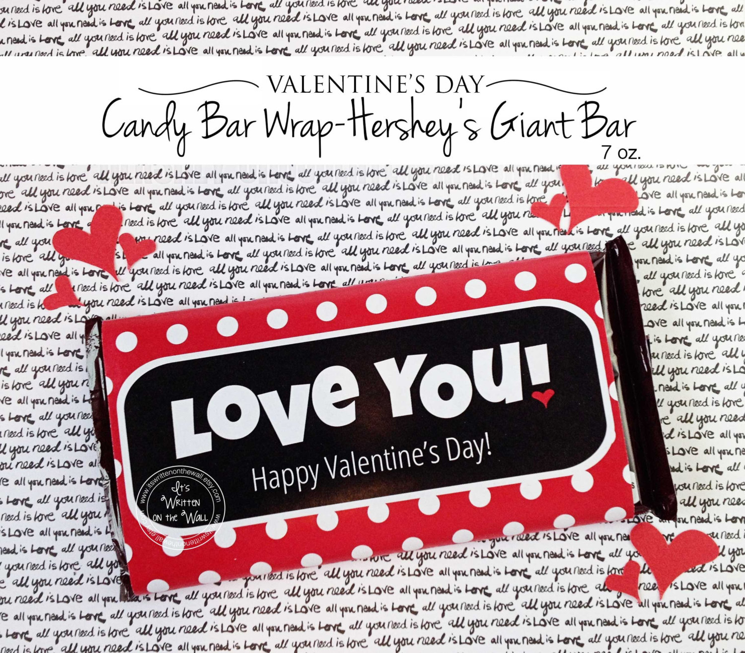 Giant Valentine Candy Bar Wraps!