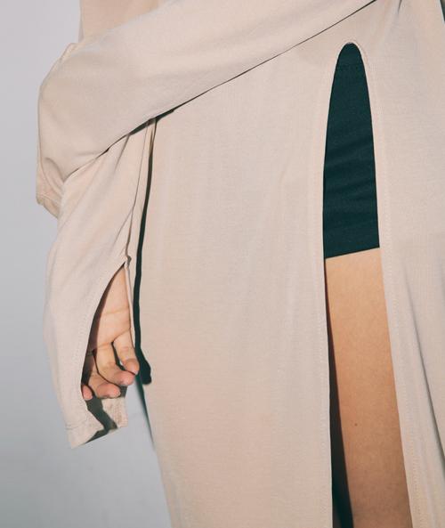 Long Slit Accent Turtleneck Dress