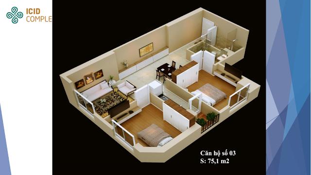 Thiết kế căn hộ 03 diện tích 75,1 m2 ICID COMPLEX