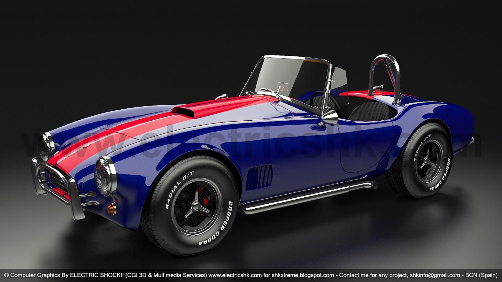 Shelby AC Cobra azul y rojo vista completa frontal lateral