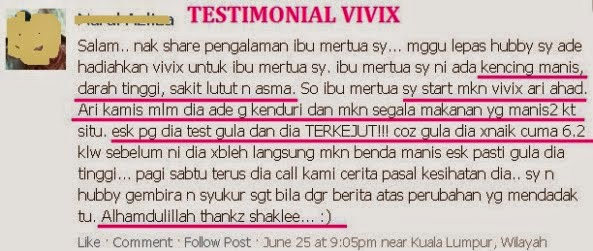 Image result for testimoni vivix untuk kencing manis