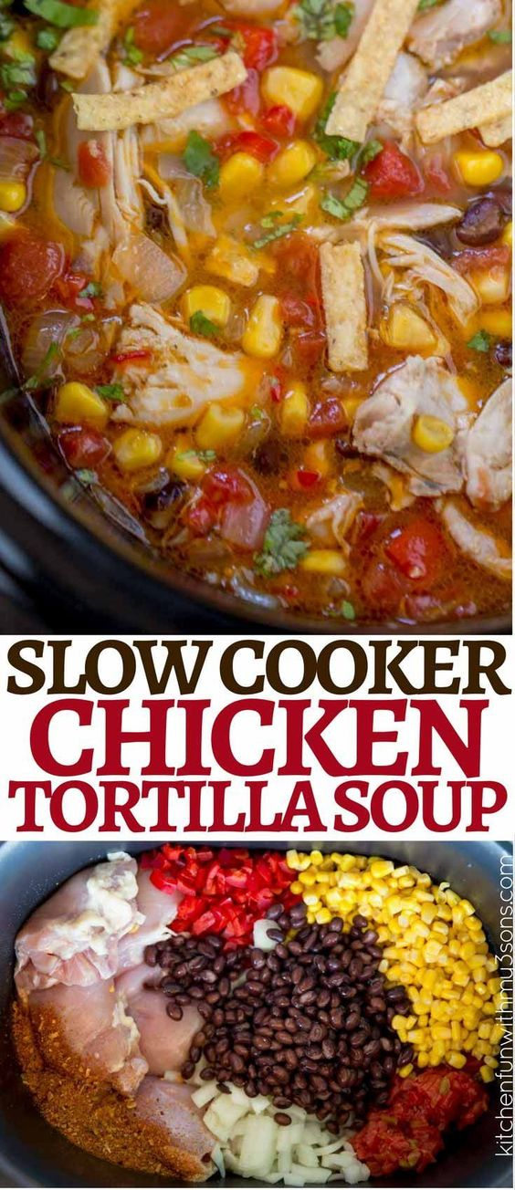 DELICIOUS SLOW COOKER CHICKEN TORTILLA SOUP
