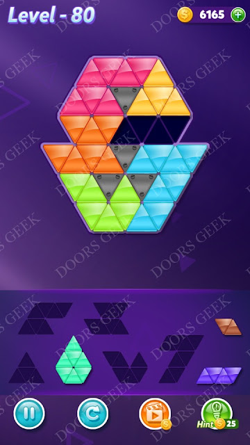 Block! Triangle Puzzle 6 Mania Level 80 Solution, Cheats, Walkthrough for Android, iPhone, iPad and iPod