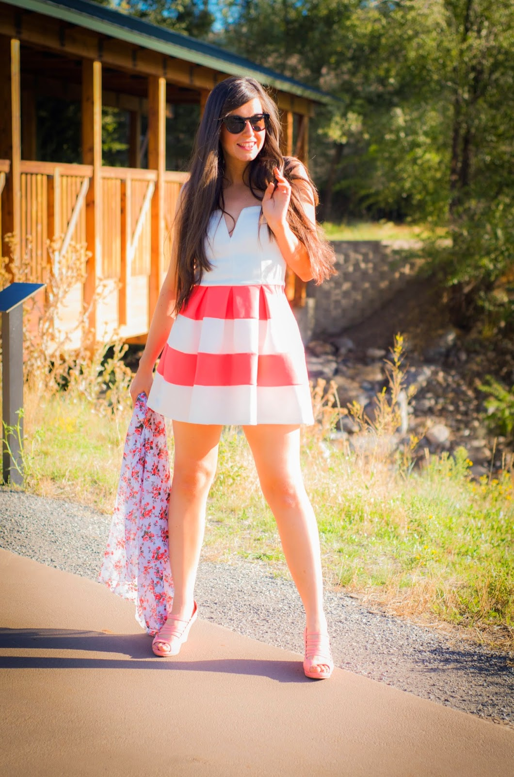 charlotte russe, kimono, skater dress, baby doll dress, strapless dress, amiclubwear shoes, strap wedges, wedges, 2 ways to wear a skater dress, pink and white dress, cute,
