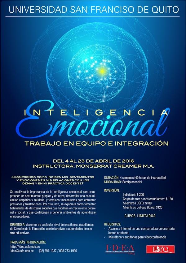 IDEA USFQ te invita al taller semipresencial: Inteligencia emocional, trabajo en equipo e integración