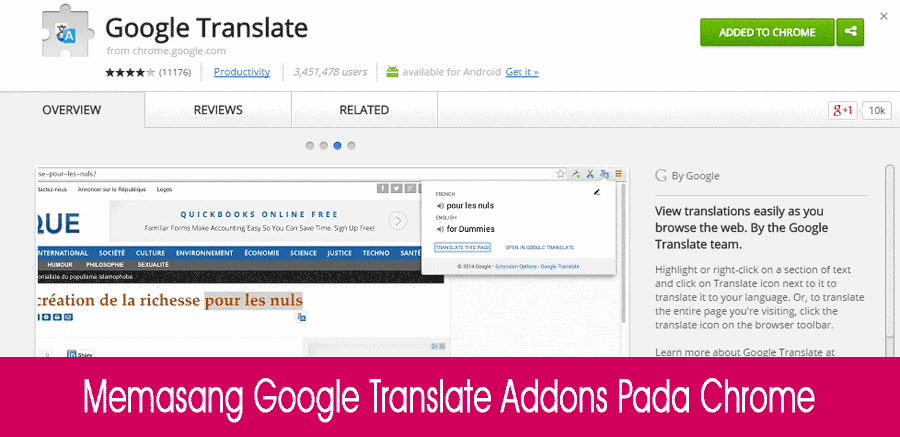 Google Translate Addons Pada Chrome