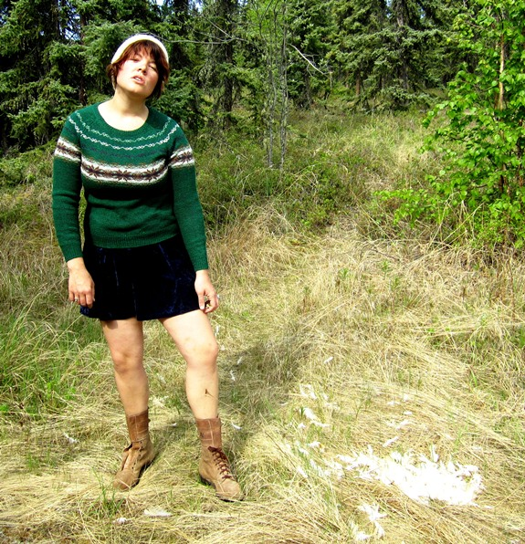 Hand Knit Ivory Beanie; Forest Green Norwegian Sweater; Blue crushed Velvet Jumper, Tan Suede and Leather Double Buckle Detailed Boots.