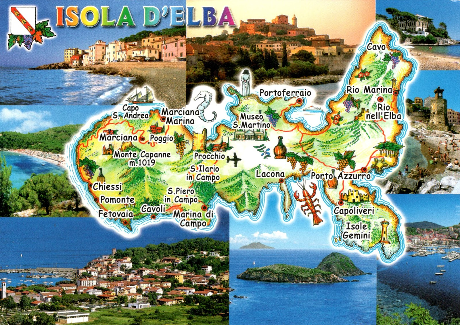 WORLD COME TO MY HOME 2141 ITALY Tuscany The map of Elba