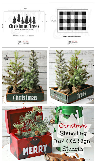 Stenciling For  Christmas With Old Sign Stencils #rusticChristmas #buffalocheck #Christmastrees #stencil #Oldsignstencils #vintage #crates #chippypaint #vintage