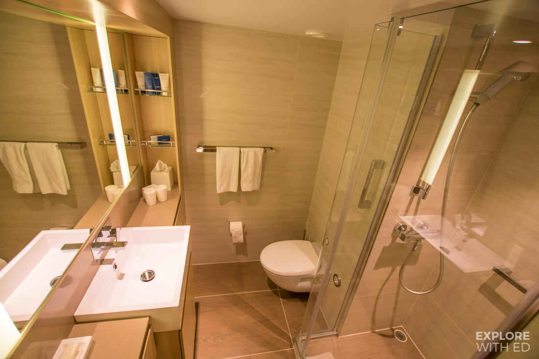Shower room with underfloor heating on Viking Cruise Ship