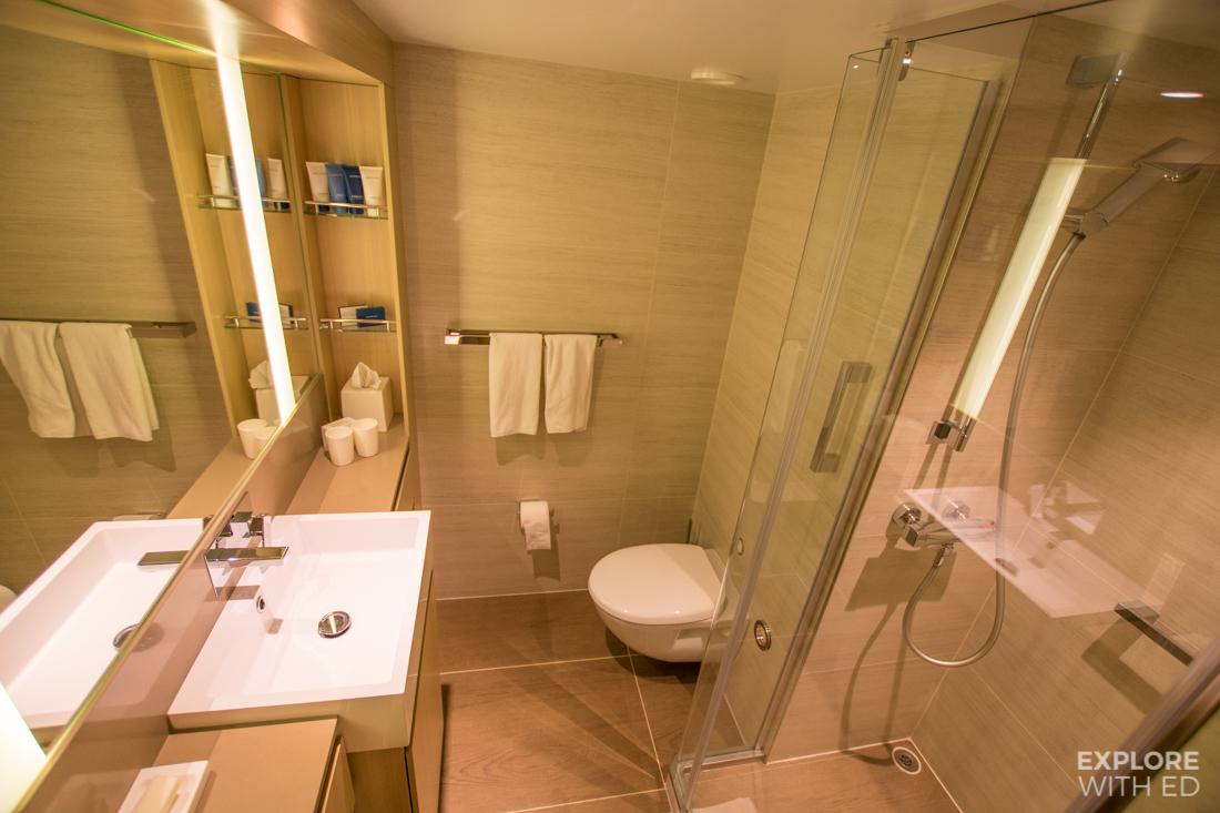 Shower room with underfloor heating on Viking Cruise Ship