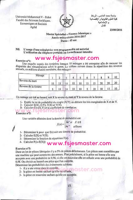 Concours d'accès au Master Finance Islamique 2016-2017