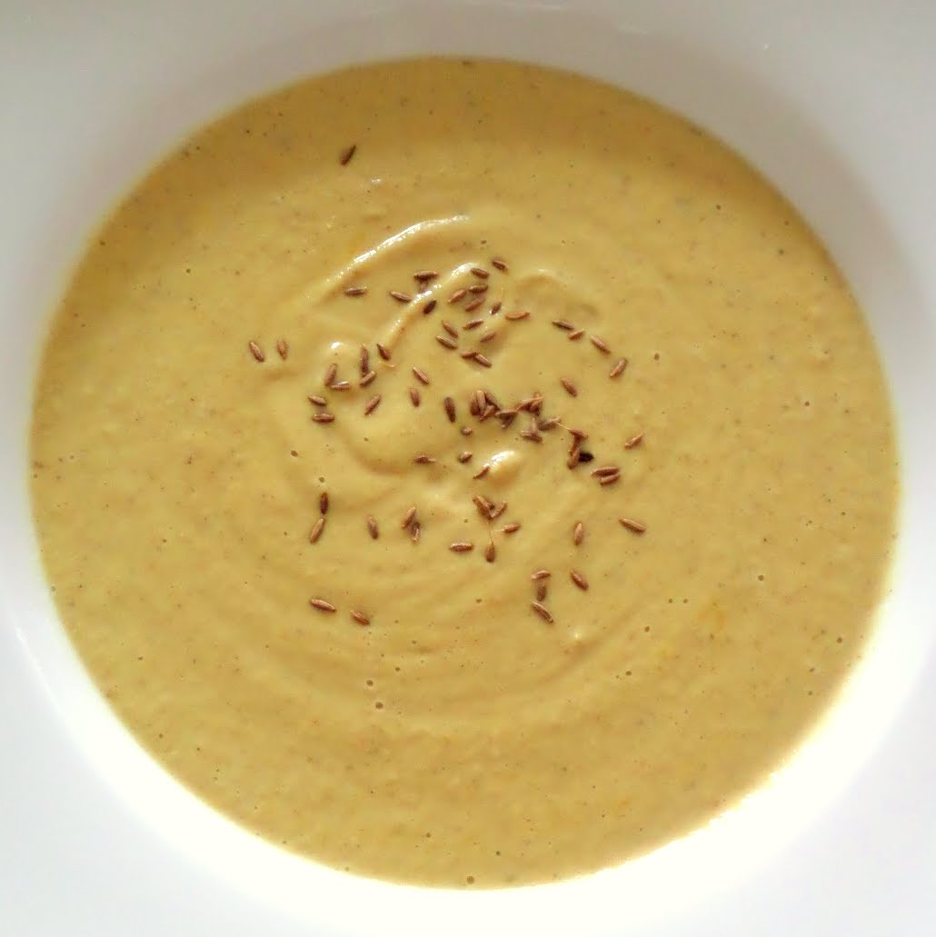 Cauliflower and Chickpea Soup:  A creamy, vegan, soup made with chickpeas, cauliflower, coconut milk, and warm spices