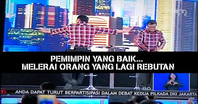 Meme Kocak Beredar 10 Aksi Ahok Saat Lerai Anies-Silvy Saat Debat Pilkada 2017