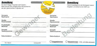 Scan: Anmeldung Vorderseite | James Cook Holidays GmbH