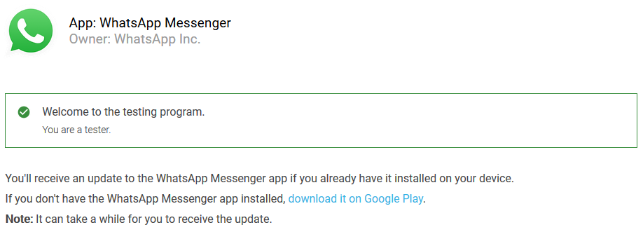 whatsapp beta tesster