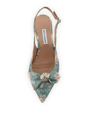 Tabitha Simmons Knotty Floral Stripe Pointed Slingback Flat