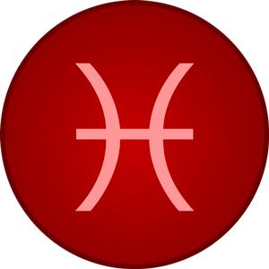 Imagen de la letra del signo del zodiaco piscis con fondo rojo