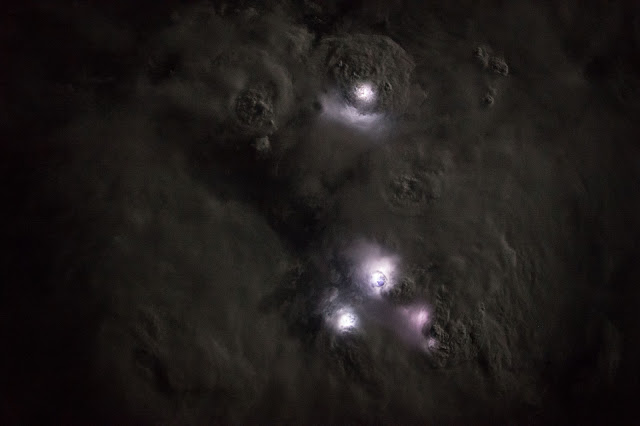 Lightning Strikes over Africa seen from the International Space Station