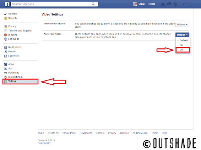 Facebook Autoplay video turned off.