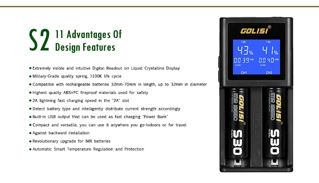 Super Fast! Super Smart! Golisi S2 Vape Battery Charger