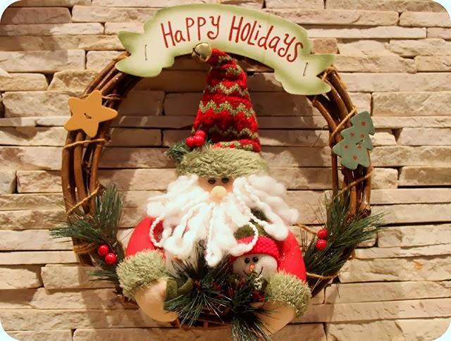 Decoração Natalina Enfeites de Natal Guirlanda Papai Noel e Boneco de Neve