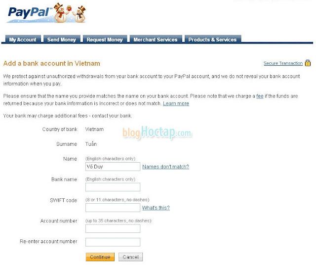 Rút tiền từ Paypal về Ngân Hàng Việt Nam bước 3