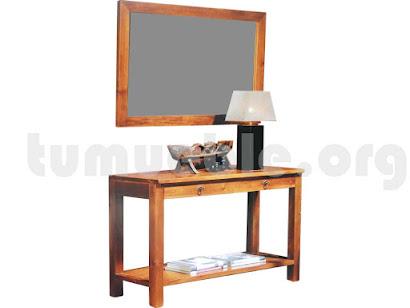 consola con espejo hecho en teca 4093+4065