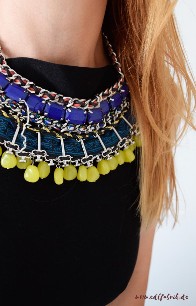 Gelb kombinieren. die Edelfabrik, Look, bunte Statementkette von Zara