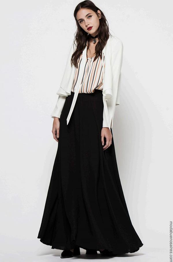 Moda invierno 2017 moda mujer ropa. Moda mujer 2017 maxifaldas y blusas.
